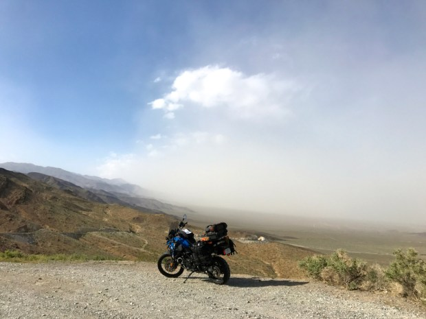 Heading into Searles Valley. Rode through this sandstorm for 50 miles.