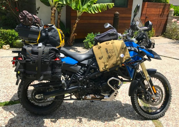 BMW F800GS packed and ready for adventure.
