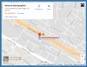 Advance Reprographics Map San Diego