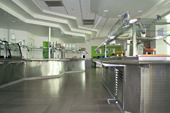 stainless steel food services facility employee cafeteria