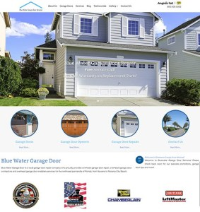 A responsive web design for Bluewater Garage Door with animation and more.