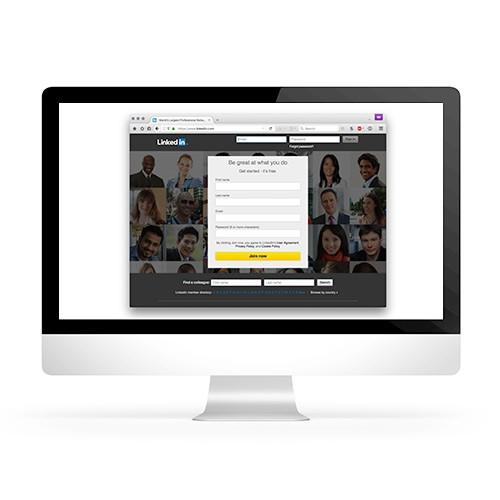 social media platform linkedin on computer monitor