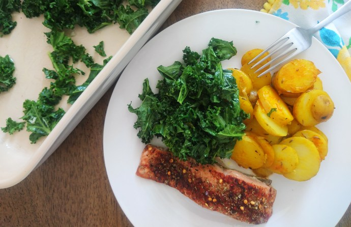 kale chips and salmon