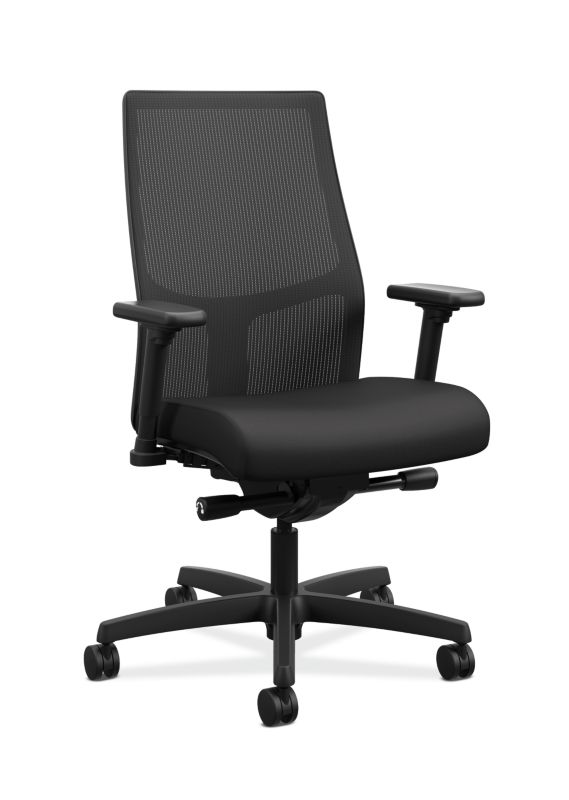 HON Ignition 2.0 Mid-Back Task Chair | Black ilira-Stretch Mesh Back |Easy Assembly |  Black Fabric