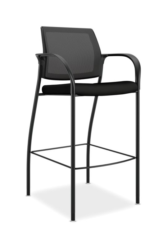 HON Ignition Cafe-Height 4-Leg Stool | Fixed Arms | Glides | Black ilira-Stretch Mesh Back | Black Seat Fabric | Black Frame