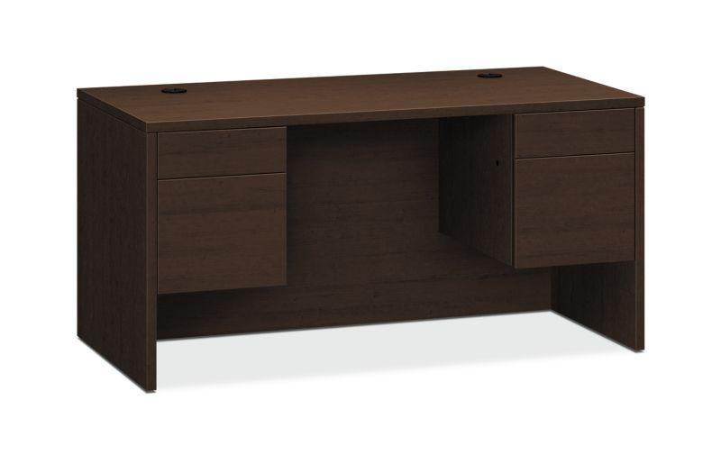 """HON 10500 Series Double Pedestal Desk   2 Box / 2 File Drawer   60""""W   Mocha Finish"""