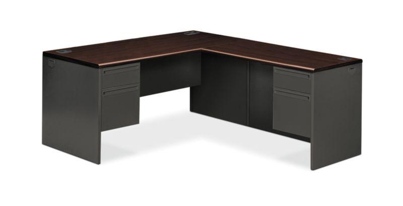 "HON 38000 Series L-Workstation | Left Pedestal | Mahogany Laminate | Charcoal Paint | 66""W"