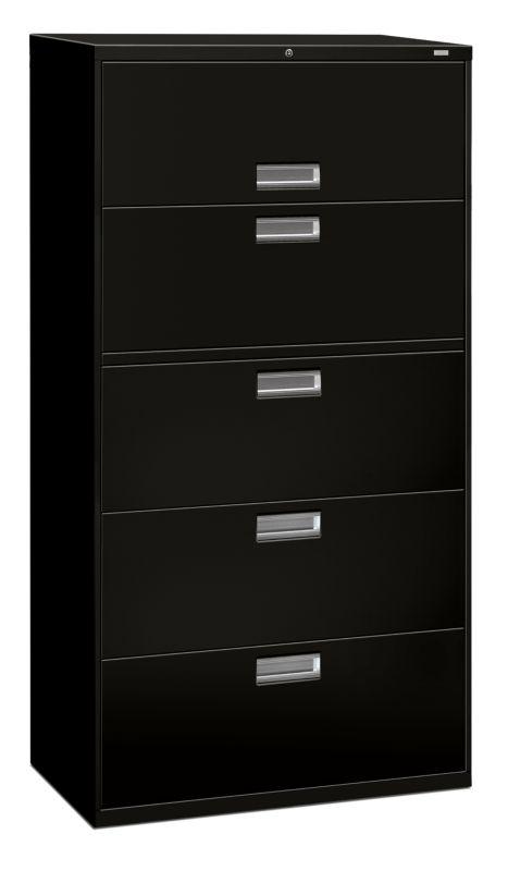 "HON Brigade 600 Series Lateral File | 5 Drawers | Aluminum Pull | 36""W | Black Finish"