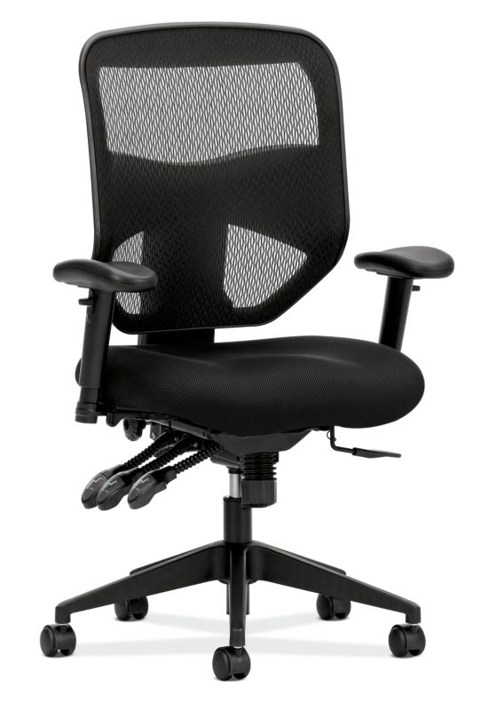 HON Prominent Mesh High-Back Task Chair | Asynchronous Control, Seat Glide | 2-Way Arms | Black Mesh