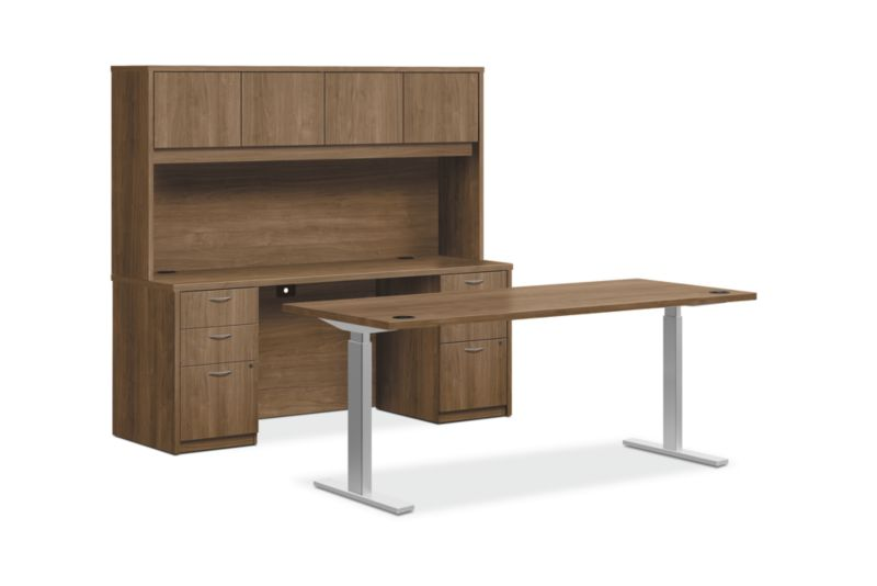 HON Foundation Office Suite with Stack-On Storage | Height-Adjustable | Pinnacle Laminate