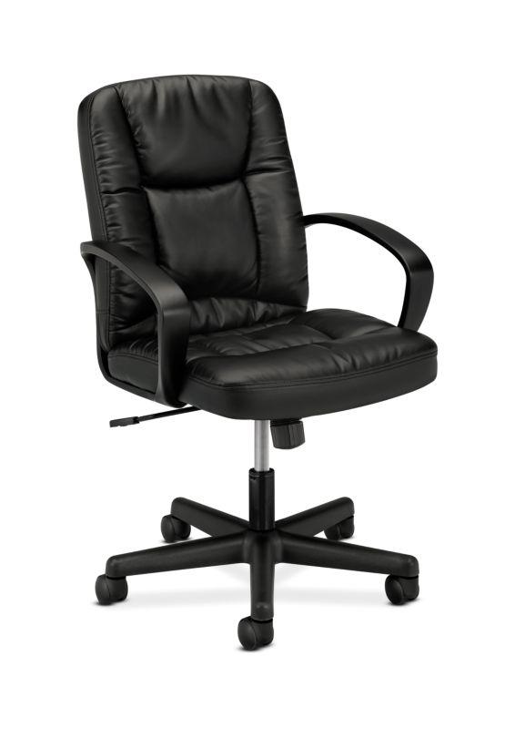 HON Mid-Back Executive Chair | Center-Tilt | Fixed Arms | Black SofThread Leather