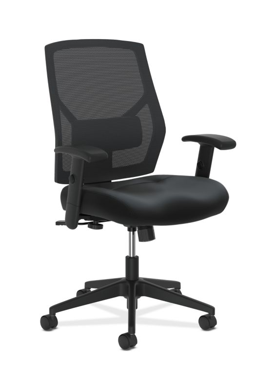 HON Crio High-Back Task Chair | Mesh Back | Adjustable Arms | Adjustable Lumbar | Black Leather
