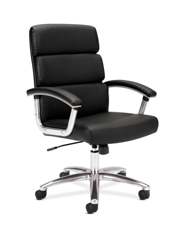 HON Traction High-Back Executive Chair | Center-Tilt | Fixed Arms | Polished Aluminum | Black SofThread Leather