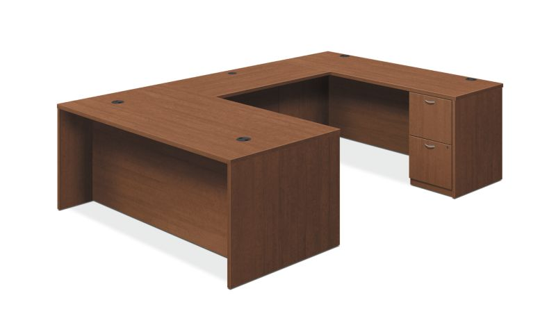 "HON Foundation U-Workstation | 2 Box / 3 File Drawers | 72""W 