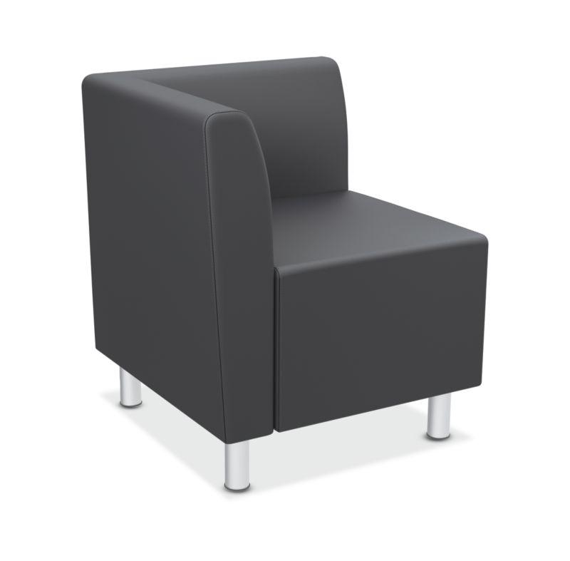 HON Greet Corner Lounge | Single Arm | Non-Handed | Charcoal Fabric