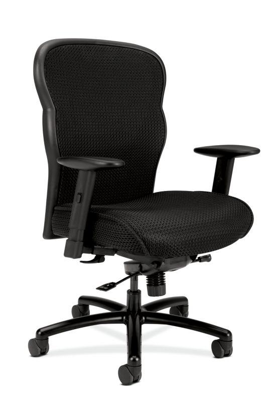 HON Wave Mesh Big and Tall Executive Chair | Knee-Tilt | Adjustable Arms | Black Fabric Seat