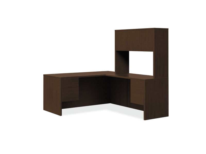 "HON 10500 Series L-Workstation | Stack-On Storage | 3/4 Pedestals | 2 Box / 2 File Drawers | 66""W 