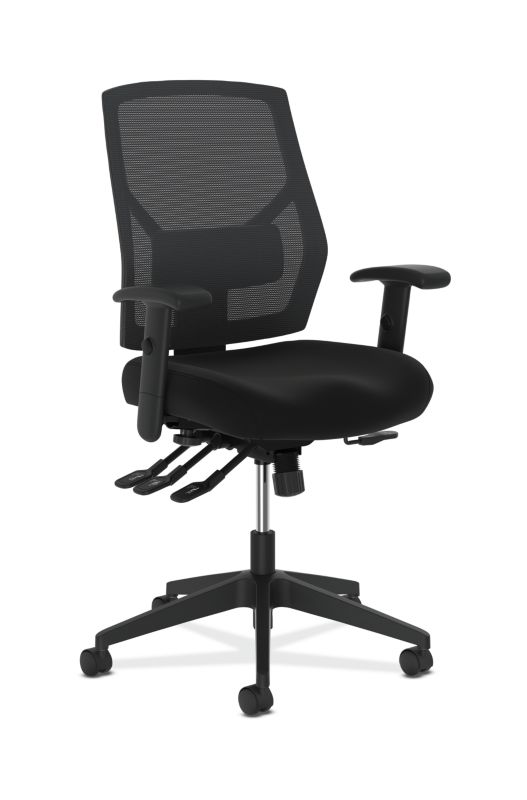 HON Crio High-Back Task Chair | Mesh Back | Adjustable Arms | Asynchronous Control | Adjustable Lumbar | Black Fabric