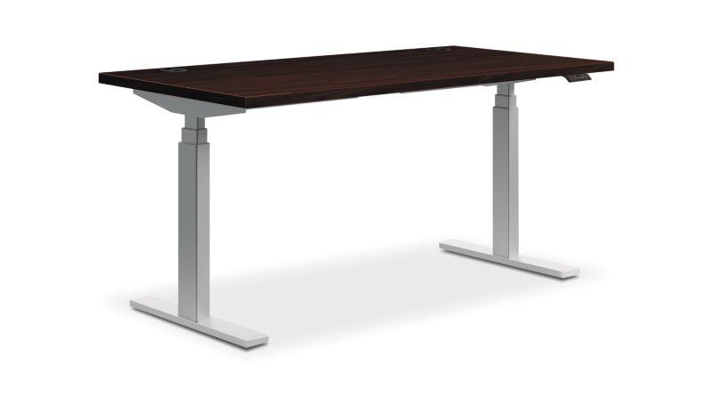"HON Coordinate Height-Adjustable Table   Mahogany Laminate   60""W"