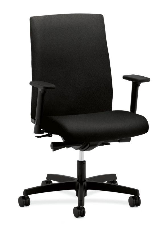 HON Ignition Mid-Back Task Chair   Synchro-Tilt, Back Angle   Adjustable Arms   Black Fabric