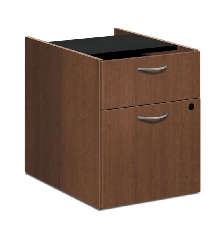 "HON Foundation Pedestal File   1 Box / 1 File Drawer   15-5/8""W   Shaker Cherry Finish"