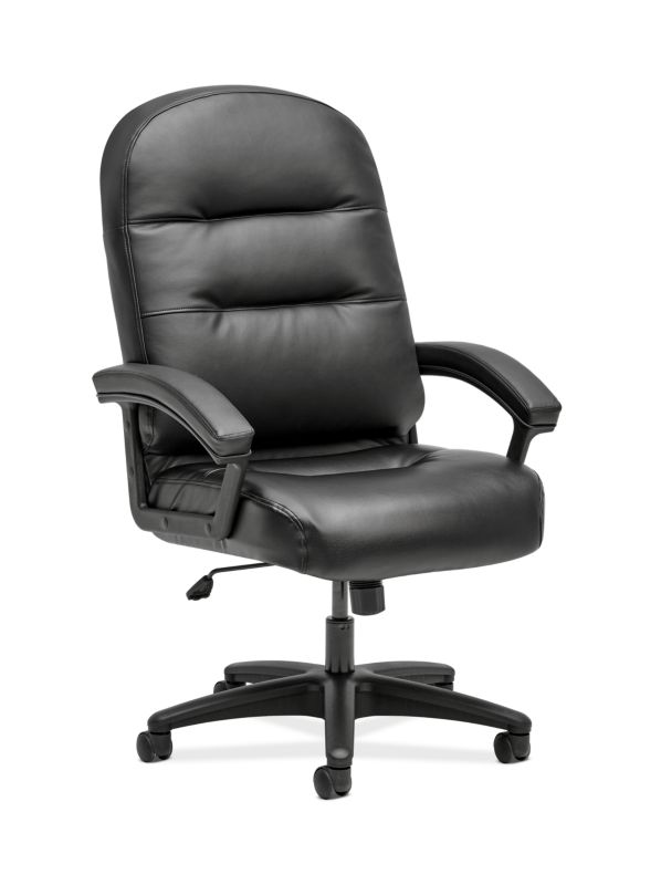 HON Pillow-Soft Executive High-Back Chair   Fixed Arms   Black SofThread Leather