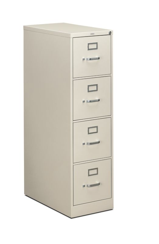 """HON 310 Series Vertical File   4 Drawers   Letter Width   15""""W x 26-1/2""""D   Light Gray Finish"""