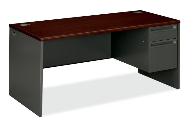 "HON 38000 Series Right Pedestal Desk | 1 Box / 1 File Drawer | 66""W | Mahogany Laminate | Charcoal Finish"