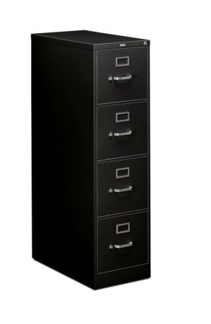 HON 310 Series Vertical File | 4 Drawers | Letter Width | 15″W x 26-1/2″D x 52″H | Black Finish