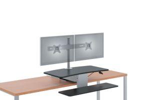 HON Desktop Riser/Sit-to-Stand | Dual Monitor Arm