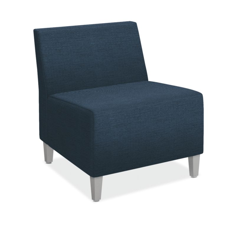 HON Flock Modular Chair | Textured Satin Chrome Legs | Tapered Square Legs | Oxford Fabric