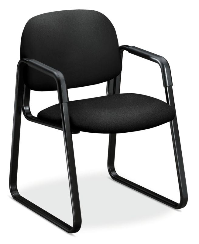 HON Solutions Seating Sled Base Guest Chair | Fixed Arms | Black Fabric