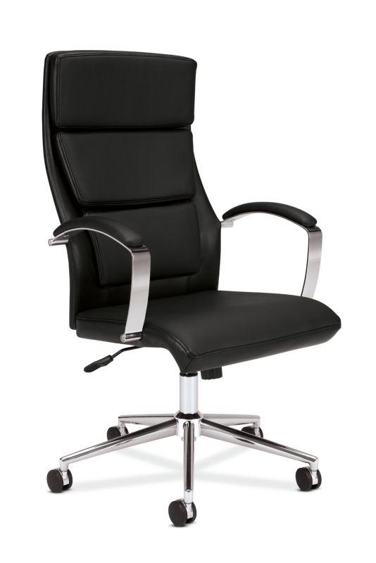 HON High-Back Executive Chair | Center-Tilt, Tension, Lock | Polished Aluminum Base | Black SofThread Leather