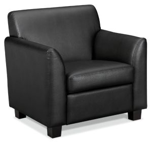 HON Circulate Tailored Club Chair | Black SofThread Leather