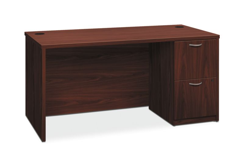 "HON Foundation Single Pedestal Desk   2 File Drawers   60""W x 30""D  Mahogany Laminate"