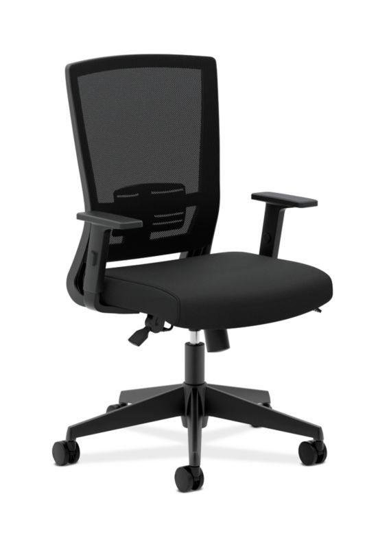 HON Mesh High-Back Task Chair | Center-Tilt, Tension, Lock, Adjustable Lumbar | Adjustable Arms | Black Fabric