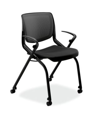 HON Motivate Nesting Stacking Chair   Black 4-way Stretch Back   Fixed Arms   Onyx Shell   Black Frame   Black Fabric