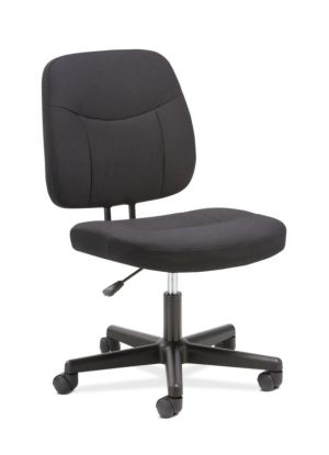 Sadie Task Chair | Armless | Black Fabric