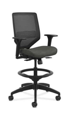 HON Solve Mid-Back Task Stool | Black 4-way stretch Mesh Back | Adjustable Lumbar Support | Adjustable Arms | Black Frame | Ink Seat Fabric