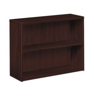 HON 10500 Series Bookcase | 2 Shelves | 36″W x 13-1/8″D x 29-5/8″H | Mahogany Finish