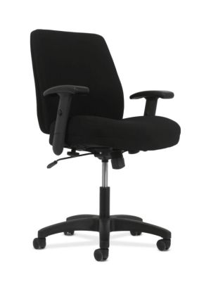 HON Network Mid-Back Task Chair | Swivel-Tilt Control | Height- and Width-Adjustable Arms | Black Fabric