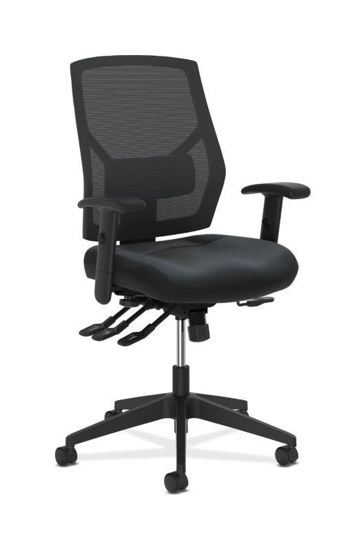 HON Crio High-Back Task Chair | Mesh Back | Adjustable Arms | Asynchronous Control | Adjustable Lumbar | Black Leather