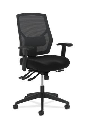 HON Crio High-Back Task Chair | Mesh Back | Adjustable Arms | Asynchronous Control | Adjustable Lumbar | Black Fabric
