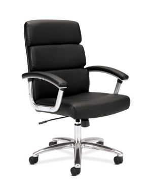 HON Traction High-Back Executive Chair | Center-Tilt, Tension, Lock | Fixed Arms | Polished Aluminum Base | Black SofThread Leather