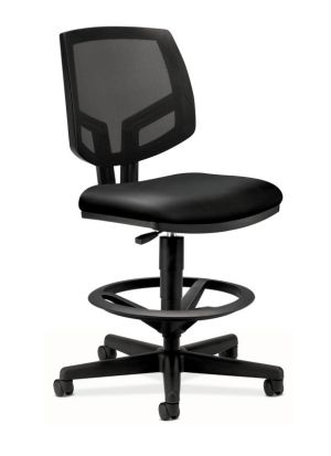 HON Volt Mesh Back Task Stool | Extended Height, Footring | Black SofThread Leather