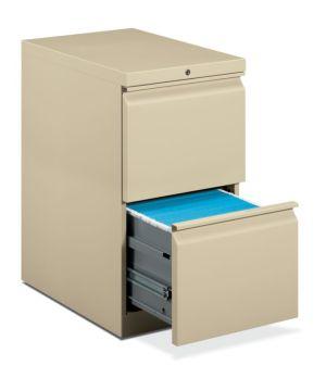 HON Brigade Mobile Pedestal | 2 File Drawers | Full Radius Pull | 15″W x 22-7/8″D x 28″H | Putty Finish