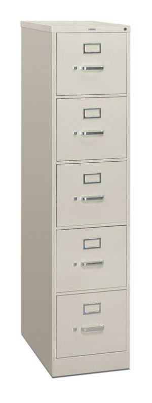 HON 310 Series Vertical File | 5 Drawers | Letter Width | 15″W x 26-1/2″D x 60″H | Light Gray Finish