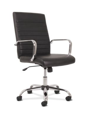 Sadie Executive Chair | Fixed Arms | Black SofThread Leather | Chrome Accents