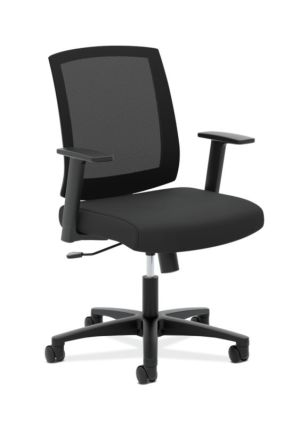 HON Mesh Mid-Back Task Chair | Center-Tilt, Tension, Lock | Fixed Arms | Black Mesh | Black Fabric