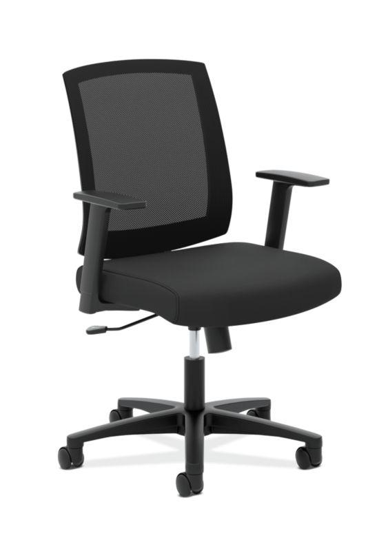 HON Mesh Mid-Back Task Chair | Center-Tilt, Tension, Lock | Fixed Arms | Black Mesh | Black Fabric